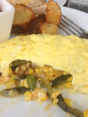 Omelette with Corn and Cherry Tomatos