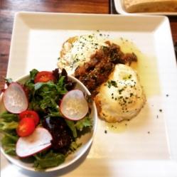 Over-Easy Eggs on Crisp Polenta with Eggplant Relish