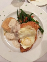 Fried Chicken and Egg with scallion busicuit, black peppercorn gravy and green beans
