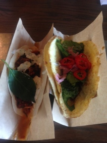 Fried Paneer Taco (left), Egg Taco (right)