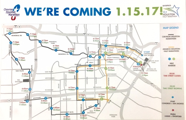 Houston Marathon Course Map and Street Closures